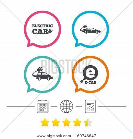 Electric car icons. Sedan and Hatchback transport symbols. Eco fuel vehicles signs. Calendar, internet globe and report linear icons. Star vote ranking. Vector