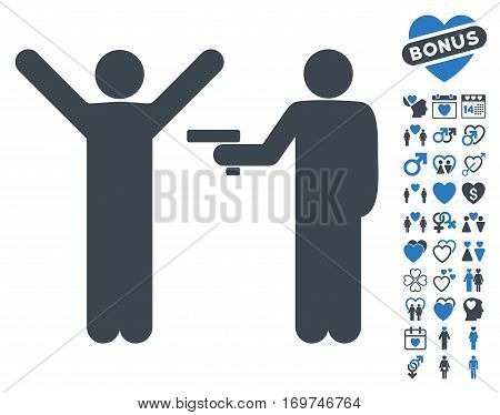Crime Robbery icon with bonus lovely symbols. Vector illustration style is flat iconic smooth blue symbols on white background.