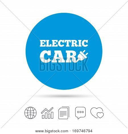 Electric car sign icon. Electric vehicle transport symbol. Copy files, chat speech bubble and chart web icons. Vector