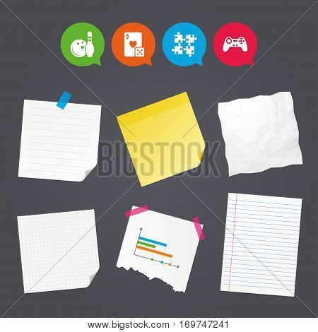 Business paper banners with notes. Bowling and Casino icons. Video game joystick and playing card with puzzles pieces symbols. Entertainment signs. Sticky colorful tape. Speech bubbles with icons