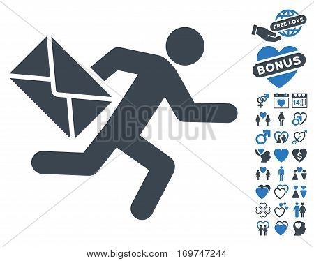 Mail Courier icon with bonus dating pictograph collection. Vector illustration style is flat iconic smooth blue symbols on white background.