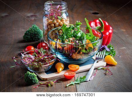 Chickpea and veggies salad with micro greens healthy homemade vegan food vegetarian diet vitamin snack