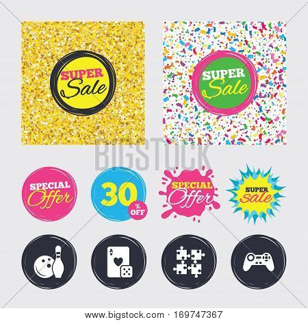 Gold glitter and confetti backgrounds. Covers, posters and flyers design. Bowling and Casino icons. Video game joystick and playing card with puzzles pieces symbols. Entertainment signs. Sale banners