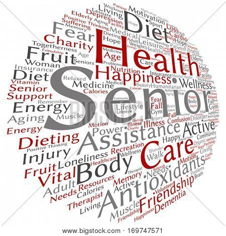 Vector concept conceptual old senior health, care or elderly people abstract word cloud isolated on background metaphor to healthcare, illness, medicine, assistance, help, treatment, active or happy