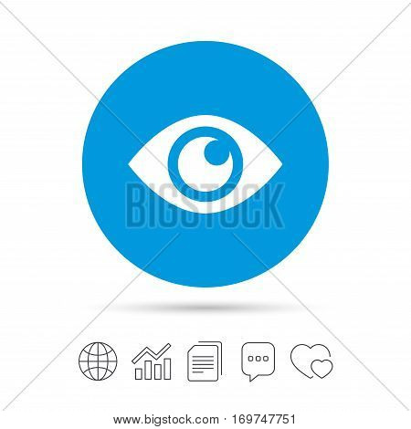 Eye sign icon. Publish content button. Visibility. Copy files, chat speech bubble and chart web icons. Vector