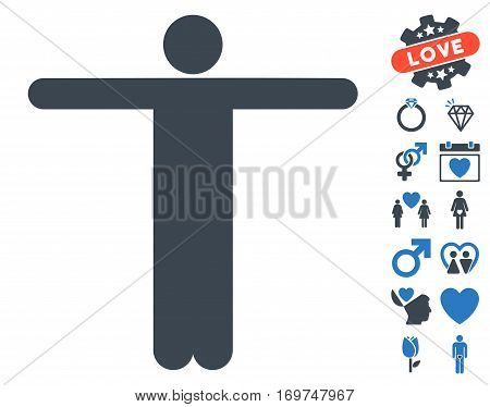 Scarecrow Pose icon with bonus lovely pictograph collection. Vector illustration style is flat iconic smooth blue symbols on white background.