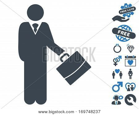 Standing Businessman pictograph with bonus dating icon set. Vector illustration style is flat iconic smooth blue symbols on white background.