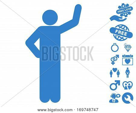 Assurance Pose icon with bonus love pictograph collection. Vector illustration style is flat iconic cobalt symbols on white background.