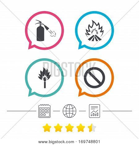 Fire flame icons. Fire extinguisher sign. Prohibition stop symbol. Burning matchstick. Calendar, internet globe and report linear icons. Star vote ranking. Vector