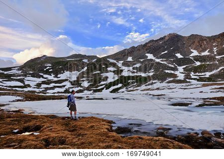Young man hiking in Colorado Mountains near Independance Pass. Aspen. Colorado. United States.