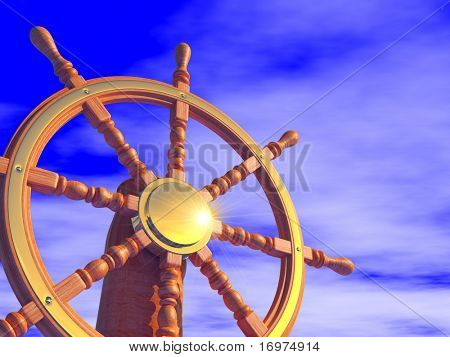 Steering wheel on a blue sky background