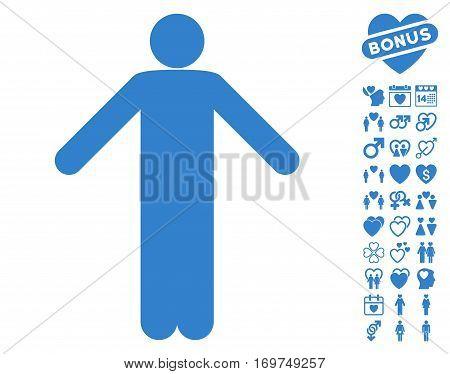 Ignorance Pose icon with bonus valentine images. Vector illustration style is flat iconic cobalt symbols on white background.