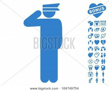 Police Officer pictograph with bonus lovely pictures. Vector illustration style is flat iconic cobalt symbols on white background.