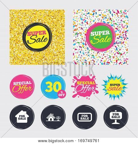 Gold glitter and confetti backgrounds. Covers, posters and flyers design. For sale icons. Real estate selling signs. Home house symbol. Sale banners. Special offer splash. Vector