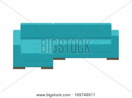 Corner sofa. Icon of minimalistic style furniture for an house interior, living room. Blue modern couch. Vector flat colorful illustration isolated on white background.