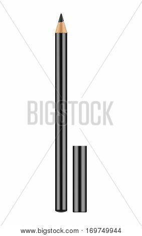 Black pencil for eyes. Realistic eyeliner with cap. Decorative cosmetic product - liner for beautiful makeup. Vector illustration isolated on white background.