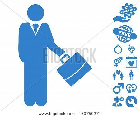Standing Businessman icon with bonus lovely graphic icons. Vector illustration style is flat iconic cobalt symbols on white background.