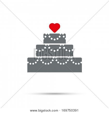 Cake Icon for Valentines Day. Red heart on three-tier cake