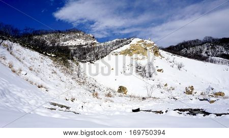 Noboribetsu Onsen Snow Mountain Bluesky Hell Valley