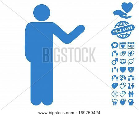 Talking Man pictograph with bonus lovely icon set. Vector illustration style is flat iconic cobalt symbols on white background.