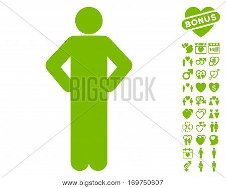 Akimbo Pose pictograph with bonus dating graphic icons. Vector illustration style is flat iconic eco green symbols on white background.