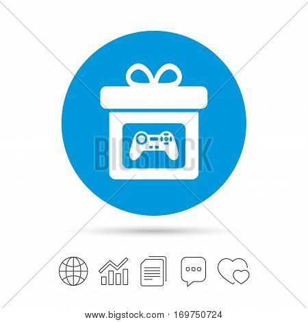 Gift box sign icon. Present with video game joystick symbol. Copy files, chat speech bubble and chart web icons. Vector