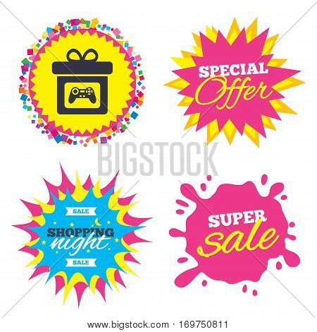 Sale splash banner, special offer star. Gift box sign icon. Present with video game joystick symbol. Shopping night star label. Vector