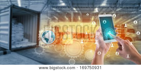 Social connection and networking for distribution of goods in warehouse process Logistic Import Export background