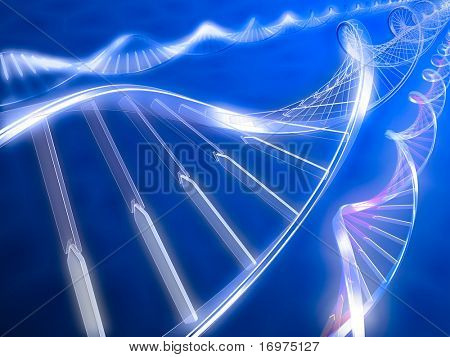 3d rendered illustration. DNA strands on abstract background