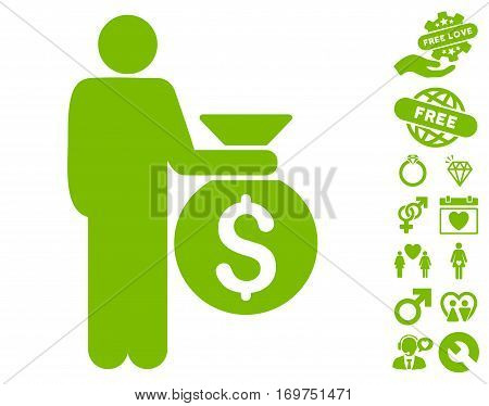 Investor icon with bonus love graphic icons. Vector illustration style is flat iconic eco green symbols on white background.