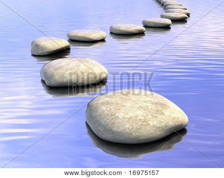 Abstract stone path on water