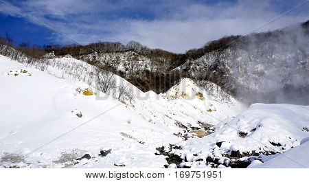 Noboribetsu Onsen Snow Mountain Hell Valley Winter