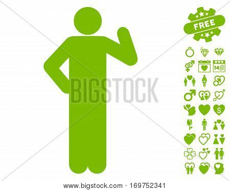 Proposal Pose pictograph with bonus valentine graphic icons. Vector illustration style is flat iconic eco green symbols on white background.