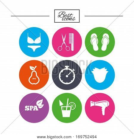 Hairdresser, spa icons. Diet cocktail sign. Lingerie, scissors and hairdryer symbols. Classic simple flat icons. Vector
