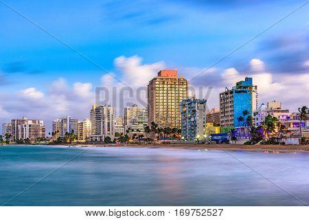 San Juan, Puerto Rico resort skyline on Condado Beach.