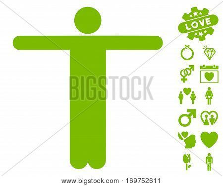 Scarecrow Pose pictograph with bonus valentine pictograph collection. Vector illustration style is flat iconic eco green symbols on white background.