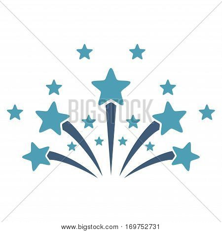 Star Fireworks flat icon. Vector bicolor cyan and blue symbol. Pictograph is isolated on a white background. Trendy flat style illustration for web site design, logo, ads, apps, user interface.