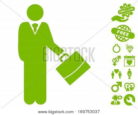Standing Businessman pictograph with bonus dating pictograph collection. Vector illustration style is flat iconic eco green symbols on white background.