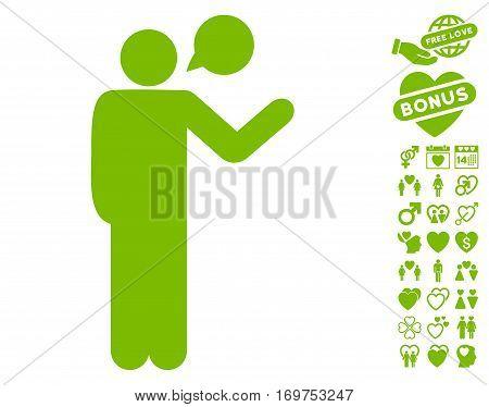 Talking Man icon with bonus valentine symbols. Vector illustration style is flat iconic eco green symbols on white background.
