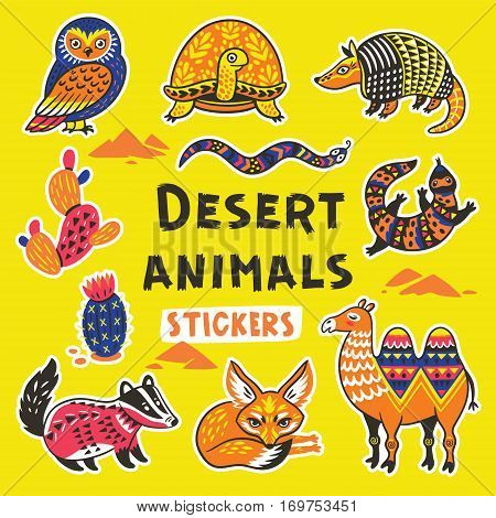 Collection of stickers with desert animals with ethnic, tribal ornaments. Vector illustration. Set stickers, pins, patches cartoon.