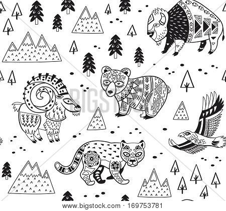 Outline seamless pattern of mountain animals with ethnic, tribal ornaments. Vector ornamental illustration in ethnic, tribal style for children coloring pages