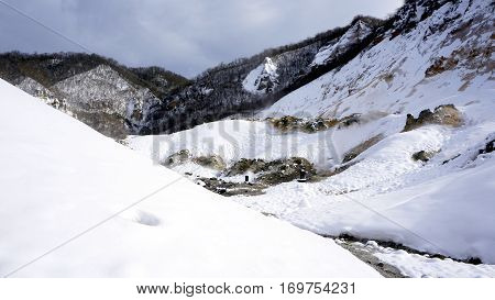 Noboribetsu Onsen Hell Valley Snow White Mountain Winter