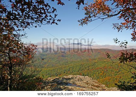 Colorful autumn view of the Blue Ridge Mountains from Blowing Rock, NC