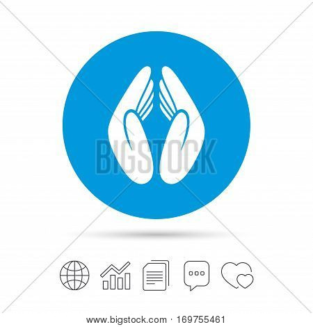 Pray hands sign icon. Religion priest faith symbol. Copy files, chat speech bubble and chart web icons. Vector
