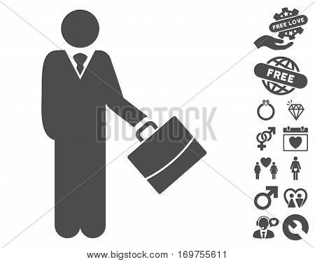 Standing Businessman icon with bonus dating graphic icons. Vector illustration style is flat iconic gray symbols on white background.