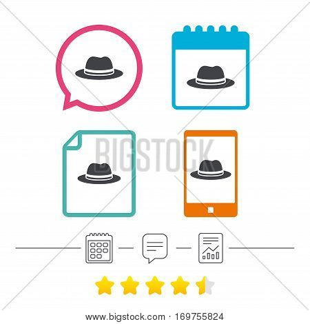 Top hat sign icon. Classic headdress symbol. Calendar, chat speech bubble and report linear icons. Star vote ranking. Vector