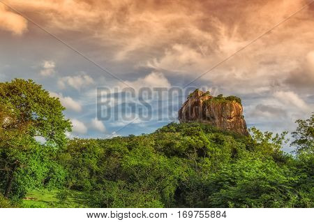 Sri lanka Sigiriya  mountain.Located in the Central Matale.Ruins of fortress on top of Sigiriya Lion Rock.Ancient ruins Sri Lanka.Medieval capital of Ceylon.Travel Sri Lanka.