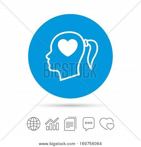 Head with heart sign icon. Female woman human head in love with pigtail symbol. Copy files, chat speech bubble and chart web icons. Vector