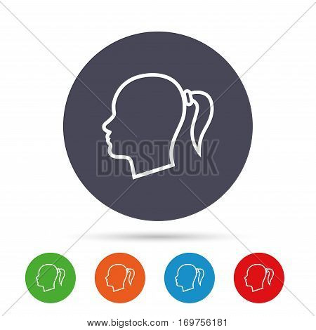 Head sign icon. Female woman human head with pigtail symbol. Round colourful buttons with flat icons. Vector