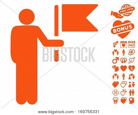 Commander With Flag pictograph with bonus love pictograph collection. Vector illustration style is flat iconic orange symbols on white background.